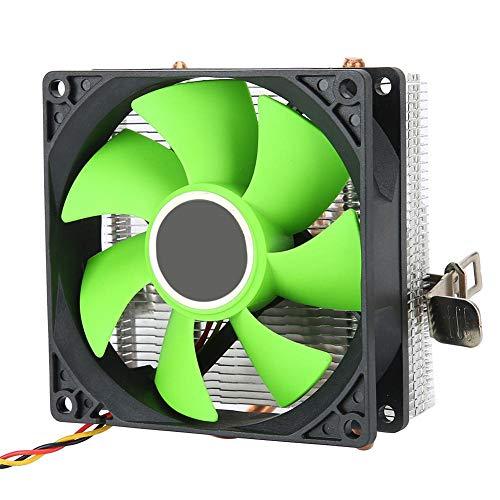 Ventilador de refrigeración de CPU, 3 pines 2000 RPM Ventiladores de refrigeración de CPU de computadora Disipador silencioso con 2 rodamientos hidráulicos de tubo para AMD 775/1150/1151/1155(Green)