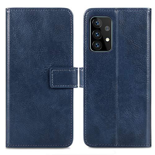 iMoshion kompatibel mit Samsung Galaxy A52 (5G) Hülle – Luxuriöse Handyhülle – Handytasche in Dunkelblau [Mit Ständer, Platz für 3 Karten, Magnetverschluss]