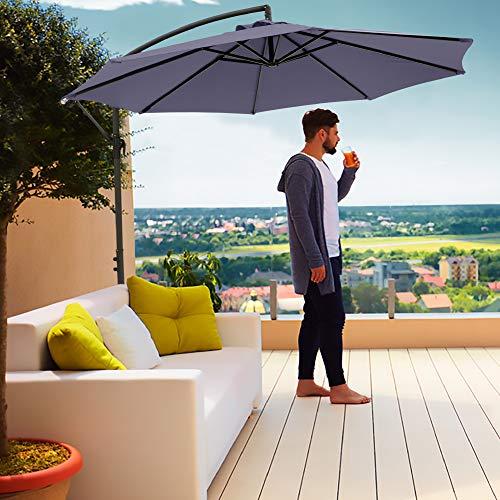 Divine Style Cantilever Parasol Premium Garden Parasol Umbrella for Outdoor Patio with FREE Waterproof Cover (Urban...