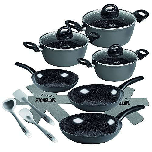 STONELINE® Ceramic Kochgeschirr-Set, 14-teilig, mit Glasdeckeln, induktionsgeeignet, Aluguss, Antihaftbeschichtung mit echten Steinpartikeln