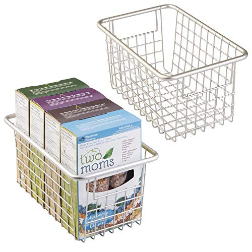mDesign Modern Farmhouse Deep Metal Wire Storage Organizer Bin Basket with Handles for Kitchen Cabinets, Pantry, Closets, Bedrooms, Bathrooms, Laundry Rooms, Garages - 5.25 High, 2 Pack - Matte White