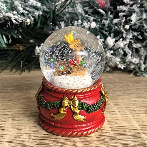 Mezzaluna Gifts Kleine Schneekugel für Weihnachten, Weihnachtsdekoration, Weihnachtsmann, Schneemann, Rentier, Rotkehlchen (roter Sockel)