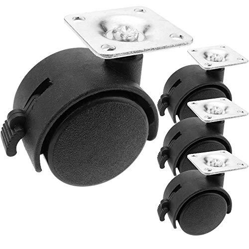 PrimeMatik - Rueda pivotante de Nailon con Freno 40 mm 38x38 mm 4 Pack