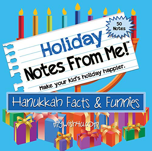 """Lunch Box Notes for Kids - Lunch Notes From Me! """"Hanukkah Facts & Funnies"""" - 50 tear-off Lunchbox Notes for Kids that Make Lunch Fun and Educational"""