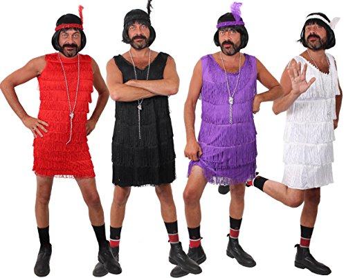 I LOVE FANCY DRESS LTD MÄNNER LUSTIGES JUNGESELLENABSCHIED Polterabend Flapper Kleid Herren VERKLEIDUNG KOSTÜM=Fasching Unisex Karneval=SCHWARZ-XLarge-OHNE PERÜCKE