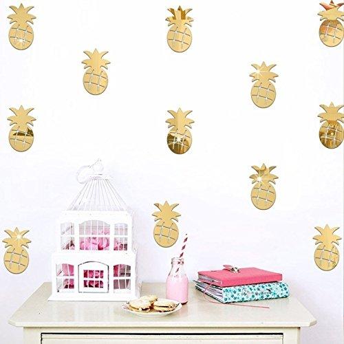 Drawihi Kreative ananas spiegel wandaufkleber Umweltschutz wandaufkleber wohnzimmer kinder schlafzimmer dekorative aufkleber Wohnaccessoires (Gold)