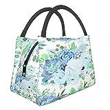 Bolsa de almuerzo con aislamiento ,Flores de color azul polvoriento,Tote Refrigerador portátil Lonchera Bolsa de calentamiento de alimentos para trabajo de