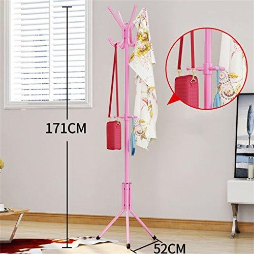 Plancher Porte-Manteau Porte-Manteaux Garde-câbles de Chambre Plancher Mode Habillage créatif Étagères Fer Anti-Rouille (Rose / 171cm) Porte Manteau pour Porte
