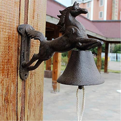 Huangjiahao IJzeren deurbel Amerikaanse Retro 3D Horse Cast Retro Metalen Wandmontage Deurbel Ijzeren Deurbel Traditioneel Voor Binnenplaats Villa School Bar Koffie Shop Tuindeur decoratie
