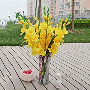 Floral DecorArtificial Gladiolus Flowers and Plants for Wedding Party Decoration Yellow