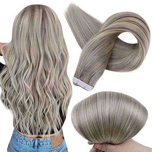 Full Shine Cabello Humano Real Remy Hair Extensions Tape In Color 19A y 60 Cinta Remy En Extensiones De Cabello 20Inch 2.5G Per Set 50Gram Por Paquete De Cabello Real Tape In Hair