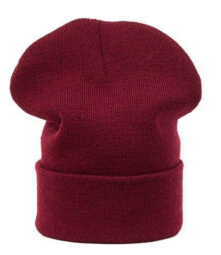 Chapeau d'hiver Beanie Clear Plain rayé hat Bonnet Fashion Jersay Oversize fashion Ski Snowboard (Brown) (Dark red)