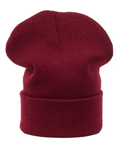 Chapeau d'hiver Beanie Clear Plain rayé hat Bonnet Fashion Jersay Oversize fashion Ski Snowboard (Brown) (Dark red)