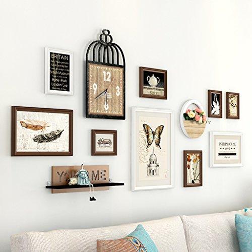 AILI Portfolio de Mur de Photo, Chambre à Coucher de Salon avec Le Cadre créatif d'horloge de Mur, Haut à Travers Le Miroir en Verre (Color : Coffee+White)