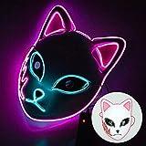QIXIAO Máscara Luminosa LED, máscara de la Fiesta de cumpleaños, máscara de Conejo de Anime, máscara de Halloween, máscara (Size : Pink)