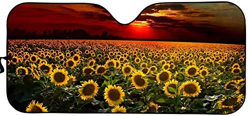 WELLFLYHOM Car Windshield Sun Shade Sunflower Sunset Funny Design Auto Sunshade Accordian Foldable product image