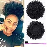 BEIRA Synthetic Afro Puff Drawstring Ponytail Short Kinky Curly Hair Bun Extension Donut Chignon Hairpieces Wig Updo Hair Extensions with Two Clips(Black-1b)