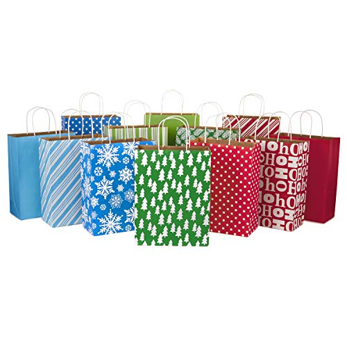 Hallmark 13' Large Christmas Gift Bag Assortment, Holiday Icons (12 Paper Gift Bags in Assorted Designs for Hanukkah or Christmas Gifts | Stripes, Polka Dots, Snowflakes, Christmas Trees)