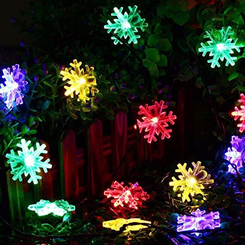 LED Solar Snowflake Light String Decoration Landscape Outdoor Waterproof Garden Light Romantic 12 Meters 100 Lights B