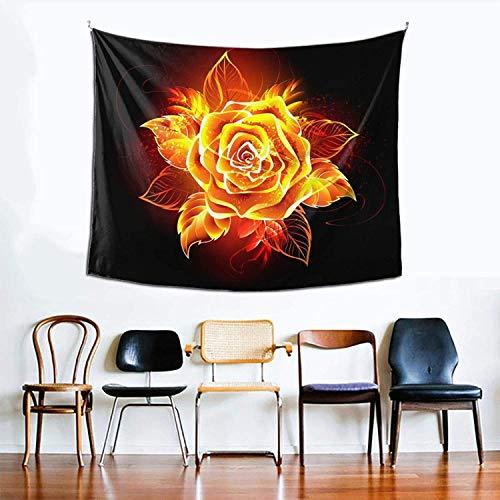 Tapiz hippie, diseño de flores de fuego, para dormitorio, sala de estar, dormitorio, tapiz psicodélico, para colgar en la pared, decoración étnica, 152 x 129 cm
