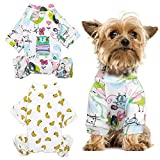 HYLYUN Puppy Pajamas 2 Packs - Adorable Puppy Clothes Soft Dog Pajamas Cotton Puppy Rompers Pet Jumpsuits Cozy Bodysuits for Small Dogs XXL