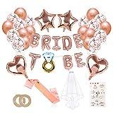 O-Kinee JGA Deko Ballons Rosegold Set, Braut to Be Deko, Junggesellenabschied Deko mit Banner...