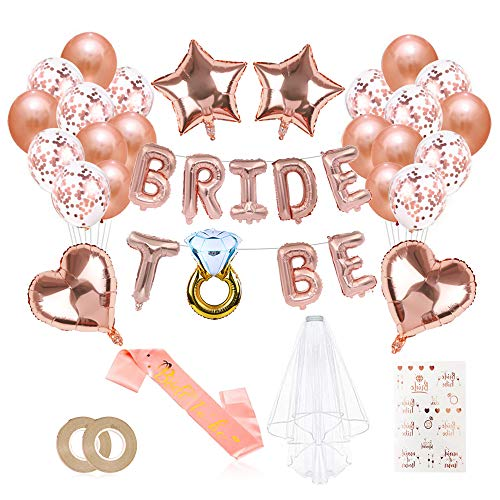 Bride Decoración, Fiestas de Despedida de Soltera Decoraciones, Bride To Be Accesorios, Despedida de Soltera Decoración, Hen Party Decoration, Globos de Lámina de Oro Rosa
