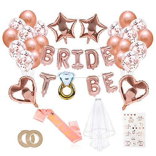 O-Kinee JGA Deko Ballons Rosegold Set, Braut to Be Deko, Junggesellenabschied Deko mit Banner Folienballons Rosegold, Schärpe, Braut Tattoo, Rosegold Luftballons und Brautschleier
