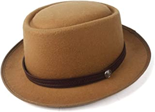 2019 Mens Womens Hats Unisex Men Women Flat Top Hat Autumn Fashion Pork Pie Hat with Leather Belt Wide Brim Porkpie Church Fascinator Hat Travel Casual Hat Size 56-58CM (Color : Khaki, Size : 58)