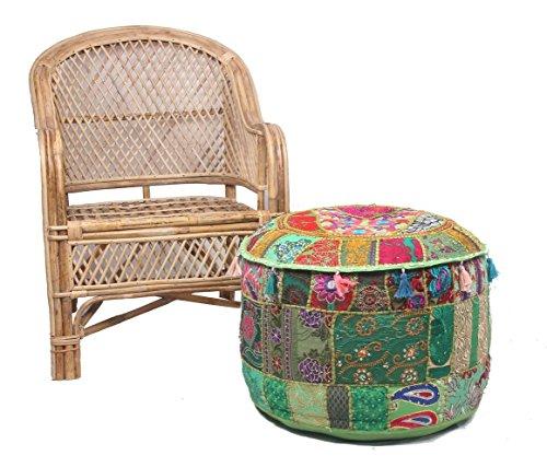 NANDNANDINI - Bonito puf decorativo de Navidad, diseño vintage de patchwork, verde, bohemio, indio, grande, redondo, otomano, asiento puf