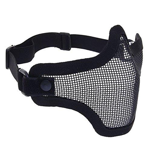 Softair Half Face Mesh Mask Paintball Half Face Schutz Maske Tactical Jagd Single Band V1Scouts Maske htuk®, schwarz