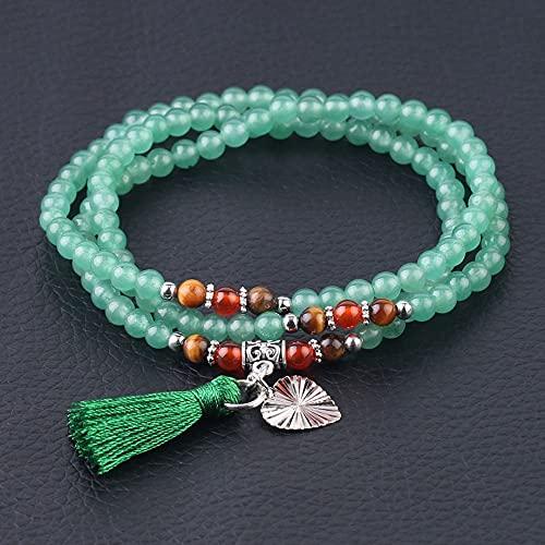 Pulsera Mujer De Piedra,7 Chakra Cuentas De Aventurina Verde Natural Pulsera Multicapa Borla Tibetana Colgante De Corazón Oración Brazalete De Meditación Regalo para Mujeres Niñas
