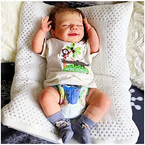 Reborn Puppe Mädchen, Reborn Baby Vollsilikon, Realistisch Reborn Babypuppen, Habe Einen Weichen Körper Und Süßes Lächeln, Leicht Zu Reinigen, Überraschungsgeschenk Für Jungen Und Mädchen