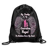 Etryrt Mochilas/Bolsas de Gimnasia,Bolsas de Cuerdas, My Daddy My Guardian Angel Letters Logo School Bag Hiking Drawstring Backpack