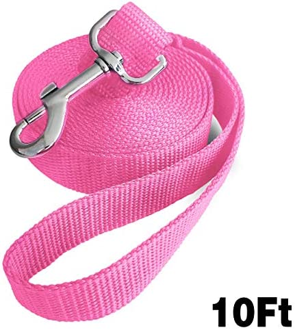 Jackpet 6ft 10ft 30ft Pink Long Leather 360 Swivel Training Dog Leash for Large Medium and Small product image