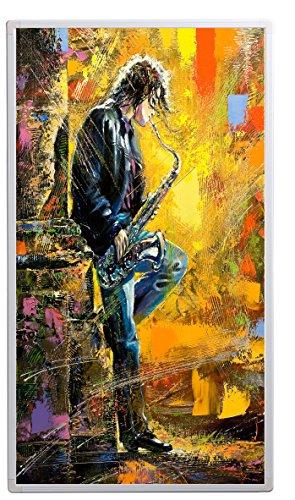 Könighaus Bildheizung (Infrarotheizung mit hochauflösendem Motiv) 5 Jahre Garantie (600-Oelgemaelde Musiker mit Saxophon)