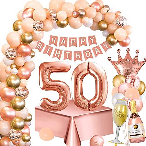 Palloncini Compleanno 50 Anni Donna, Decorazione Feste Oro Rosa con Numero 50 Palloncini, Striscione Buon Compleanno, Tovaglia Oro Rosa, Palloncino Bottiglia Vino Corona per Feste Compleanno 50 Donna