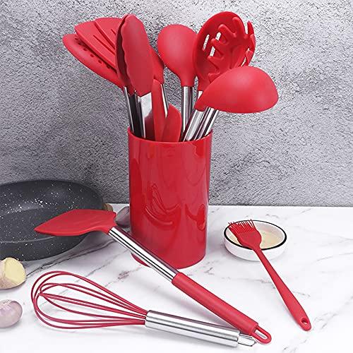YUXIwang Cookware Conjuntos de Utensilios de Cocina Silicone Spatula Kit Gadget Spatula Pinks Lado Utensilios CAFILLOS MULTIFUNCIONES MULTIFUNCIONES (Color : Red, Kit Type : Over Five Piece Set)