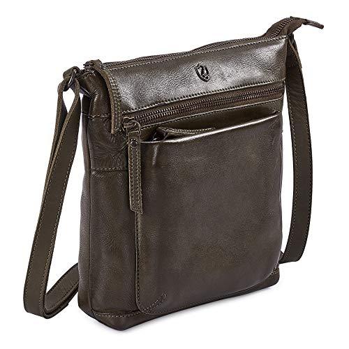 COCHOA Women's Real Leather Small Triple Zip Crossbody Bags Purse Travel Bag