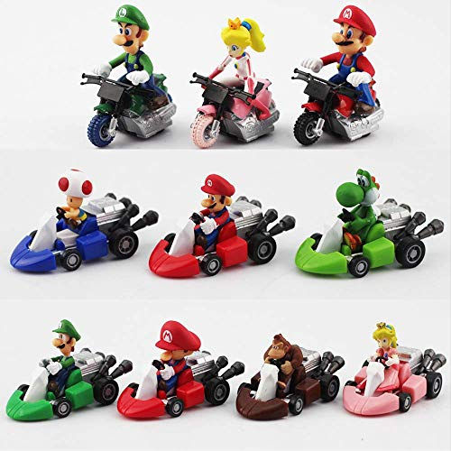 Therfk 10 Unids / Set Super Mario Bros Kart Pull Back Cars 4-6Cm, Luigi Yoshi Toad Princess Peach Donkey Kong Mini Cars Regalo para Niños