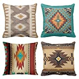 Emvency Set of 4 Throw Pillow Covers Tribal Western Geometric Colorful Nature Color Patterns Sw Turq Orange Decorative Pillow Cases Home Decor Square 16x16 Inches Pillowcases
