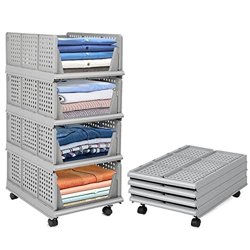 Juego de 4 cajas de almacenaje, organizador de armario, apilables, para cocina, dormitorio