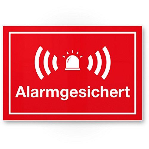 Komma Security Alarmgesichert Kunststoff Schild 30 x 20 cm - Achtung Vorsicht Alarmgesichert - Hinweis Hinweisschild Alarm - Haus Gebäude Objekt