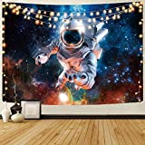 KYKU Astronaut Tapestry Trippy Galaxy Psychedelic Space Pilot Wall Hanging Fantasy Outer Space Wall Tapestries For Living Room Bedroom Dorm Decor (59.1'H x 82.7'W, Astronaut)