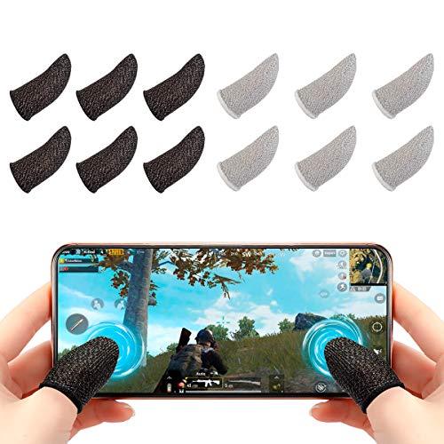 Newseego PUBG Mobile Game Finger Sleeve[12 Pack], Touchscreen Fingerhülse Atmungsaktiv Ultradünn Anti-Sweat Fingerset Empfindliche Shoot-&Ziel-Tasten für Überlebensregeln/Knives Out für Android & IOS