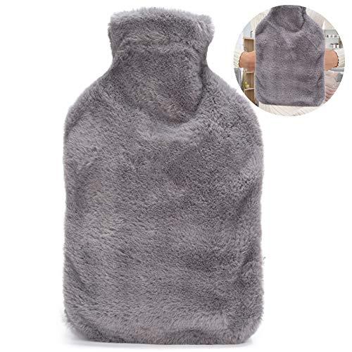 Wärmflasche 2L mit Känguru-Tasche, ONKING Premium Weich Wärmflasche mit Bezug Winterheizung Abende für Männer Frauen Kinder Wärmflaschen mit Tasche Grau [Upgrade 2020 Design]