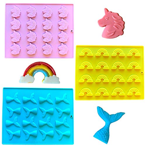 Silicone Candy Molds Set of Unicorn Mold, Rainbow Mold, and Mermaid Tail Mold for Candies, Chocolates, Crayons, Ice, Gummies, Fondant by Miraculously Magical