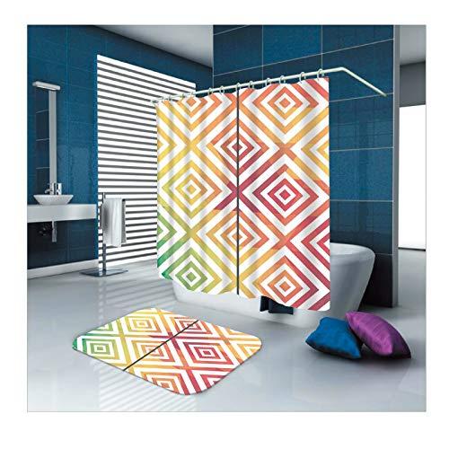 ANAZOZ Duschvorhang+Badematte 2er Set Mehrfarben Quadratmuster Wasserdicht Badewanne Vorhänge Anti-Schimmel Bad Vorhang Anti-Rutsch Bad Vorhang für Badezimmer Badewanne für Badezimmer Bunt 150X180cm