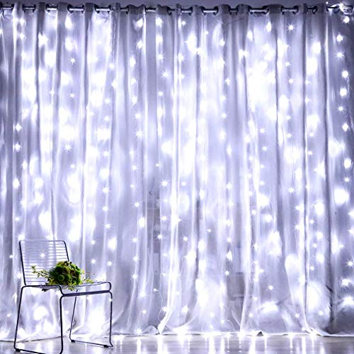 Fiee Fairy Curtain Lights,304 LED 9.8ftX9.8ft 30V 8Modes safety Window Lights with Memory for Home Wedding Christmas Party Family Patio Lawn Garden Bedroom Outdoor Indoor Wall Decorations(Cool White)
