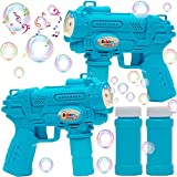 JOYIN 2 Bubble Guns with Light & Music,Bubble Solutions for Kids Toddlers Indoor & Outdoor Party Supplies, Bubble Blower, Bubble Blasters, Bubble Makers, Summer Toy, Indoor & Outdoor Fun Activity